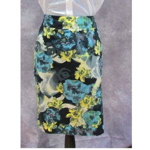 Ann Taylor Blue Yellow Black Floral Pencil Skirt